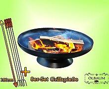 Feuerkorb FEUERSCHALE GRILL (je nach Wahl mit 4 - 8 - 12x Grillspiessen) mit Zubehör grillzubehör aus Massiv-Stahl mit Zubehör 8 Grillspieße