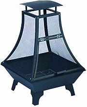 Feuerkorb Feuerstelle, Stahl, schwarz/ grau, 69 x