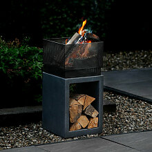 Feuerkorb mit Konsole 4-eck, graphit/Metall, ca.