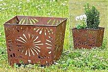 Feuerkorb Pflanztopf Gartendeko Eisen rost H 30 cm