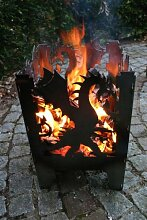 Feuersäule / Feuerkorb DRACHE Gr. L aus Stahl -