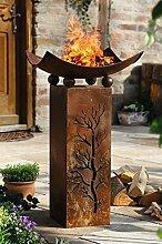 """Feuersäule """"Fire"""", 2tlg. Dekosäule, Feuerschale Dekofeuer Garten Rost Optik"""