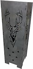 Feuersäule Metall, Hirschkopf, 100cm, Dekorativ
