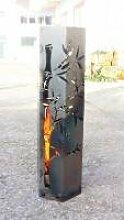 Feuersäule mit Bambusmotiv, Höhe 80cm