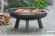 Feuerschale auf Fuß + Grill Stahl, 70 cm