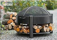 Feuerschale + Deckel Firewall Stahl schwarz, mit Ablage, Holz, 60 cm