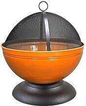 Feuerschale Globe schwarz Orange