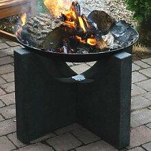 Feuerschale Granato, 46x68x68 cm, grau, schwarz