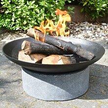Feuerschale Granito, 23x59x59 cm, grau, schwarz