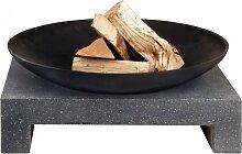Feuerschale GRANITO aus Metall auf eckigen Sockel 59x43x15cm Esschert Design (129,95 EUR / Stück)