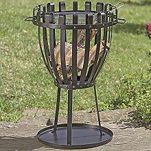 Feuerschale & Grill 72x45 cm schwarz Metall Feuerkorb Terrassenofen Feuerstelle