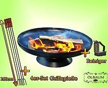 FEUERSCHALE GRILL (je nach Wahl mit 4 - 8 - 12x Grillspiessen) mit Zubehör grillzubehör Massiv-Stahl mit Bürste und 4 Grillspieße