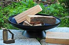 Feuerschale, groß 60 cm, mit Reinigerbürste Feuerstelle Feuerkorb Terrassenofen GRILL