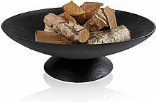 Feuerschale MIAMI Gusseisen, Feuerstelle für Draußen: Terasse & Garten, runde Design-Schale mit Fuß, Farbe: Schwarz