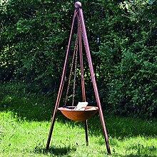 Feuerschale mit Stand Nuna Eisen rost Höhe 210 cm, Gartendeko, Feuerstelle, Sommer, grillen, Garten