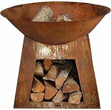 Feuerschale Rost mit Brennholzfach FF169 rund