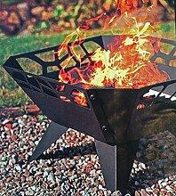 Feuerschale Schwarz Metallic mit Ornamenten Durchbruch 52 cm, Metalleinleger für Schutz, mit Füssen