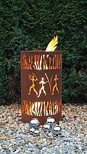 Feuertonne Afrika Edelrost Säule Rost Feuerkorb
