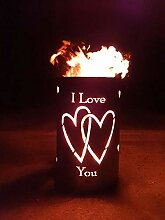 Feuertonne / Feuerkorb mit Herz Motiv - I Love You