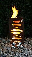 Feuertonne Modern Edelrost Säule Rost Feuerkorb