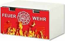 Feuerwehr Aufkleber / Möbelsticker - BT32 - passend für die Kinderzimmer Banktruhe STUVA von IKEA (90 x 50 cm) - Optimal als Spielzeugkiste und Sitzbank geeigne