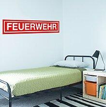 FEUERWEHR Aufkleber Wandtattoo Wandaufkleber Sticker Kinderzimmer (120cm (B) x 24cm (H), Rot)