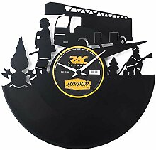 Feuerwehr Geschenkidee Uhr aus Vinyl Schwarz