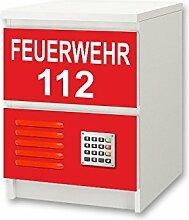 Feuerwehr Möbelsticker / Aufkleber - NS48 - passend für Kinderzimmer Kommode / Nachtisch MALM von IKEA