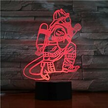 Feuerwehrmann Geschenk Nachtlicht Lampe, 3D LED