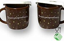 Feuerzangenbowle Set für Zuhause: 2 Becher und Zangen, aus Dolomite (Keramik)