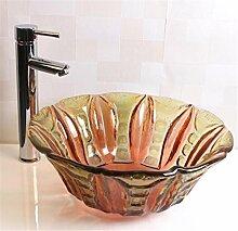 FFJTS Badezimmer-Glaswaschbecken - transparentes Glaskunst-Becken auf dem Becken (einzelnes Becken)