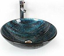 FFJTS Buntes Regenbogen-dunkles Blau-ausgeglichenes Glaskunst-Becken-Waschbecken (einzelnes Becken)