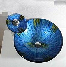 FFJTS Creative Art Glaswaschbecken Waschbecken Waschbecken Badezimmer (Single Basin)