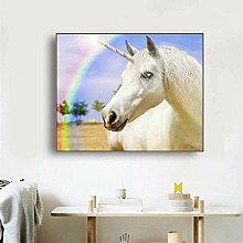 FGHSD Kunstplakat Weißes Pferd Wandkunst