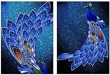 FGHSD Wandkunst Bild Blue Peacock Animals Leinwand