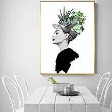 FGHSD Wandkunst Bild Kreative Grüne Pflanze Kopf
