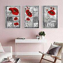 FGHSD Wandkunst Bild Moderne abstrakte rote Blume