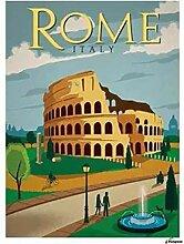 FGHSD Wandkunst Bild Rom Vintage Reiseplakate Hd