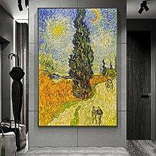 FGHSD Wandkunst Bild Straße mit Zypresse und