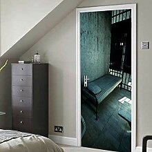 FGPXCD Türaufkleber 3D Tür Wandbild Blaues