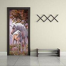FGPXCD Türaufkleber 3D Tür Wandbild Dschungel