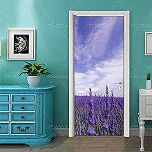 FGPXCD Türaufkleber 3D Tür Wandbild Himmel Lila