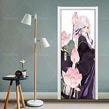 FGPXCD Türaufkleber 3D Tür Wandbild Netter Anime