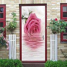 FGPXCD Türaufkleber 3D Tür Wandbild Rosa