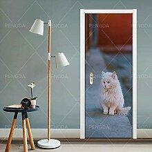 FGPXCD Türaufkleber 3D Tür Wandbild Tierkatze