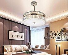 FGSGZ Deckenventilator Licht Schlafzimmer Led Unsichtbar Crystal Ventilator Kronleuchter Farbe Gold Weißes Licht Wandsteuerung 36 Zoll