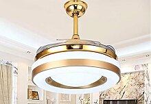 Fgsgz Deckenventilator Ventilator Kronleuchter Wohnkultur einfache und stilvolle die Häufigkeit mit Lampe Ventilator (Durchmesser 108 cm) dreifarbige Dimmer + Fernbedienung