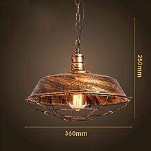 FGSGZ Retro Ventilator Bügeleisen Kronleuchter Kreativität Und Der Deckel Licht Bronze Farbe 36 * 25CM