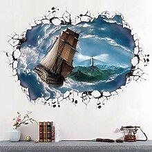 FGYHJ Meer der Wolken Segeln 3D Boden Aufkleber