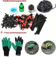 FHD DIY Automatische/manuelle Micro Drip Bewässerung Bewässerungssystem Sprinkler 65 FT/ 82FT Gartenschlauch,Garten Handschuhe mit Claw Schnell zum Graben und Pflanzen (Rechte Handklaue 1 Paar) (82FT)